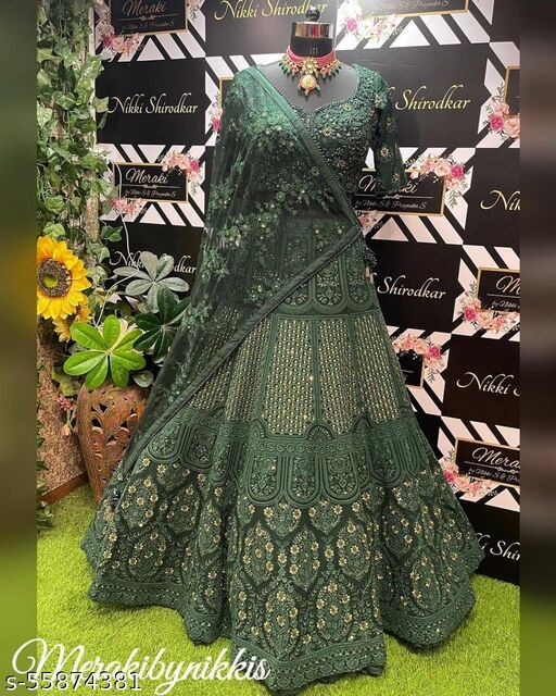 Green Embroidered Attractive Party Wear Net With Silk Material Lehenga choli With Cancan