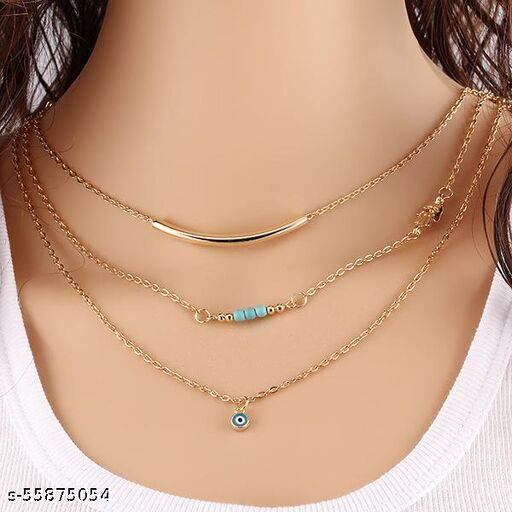 Vembley Pretty Gold Plated Triple Layered Evil Eye Blue Beads Pendant Necklace for Women and Girls