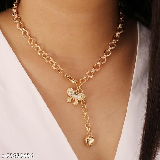 Vembley Gorgeous Gold Plated Y Shaped Chunky Chain Butterfly Drop Heart Pendant Necklace for Women and Girls