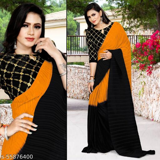 Buy Letest  Stylish multi colour Georgette saree with embroidered Blouse for online.