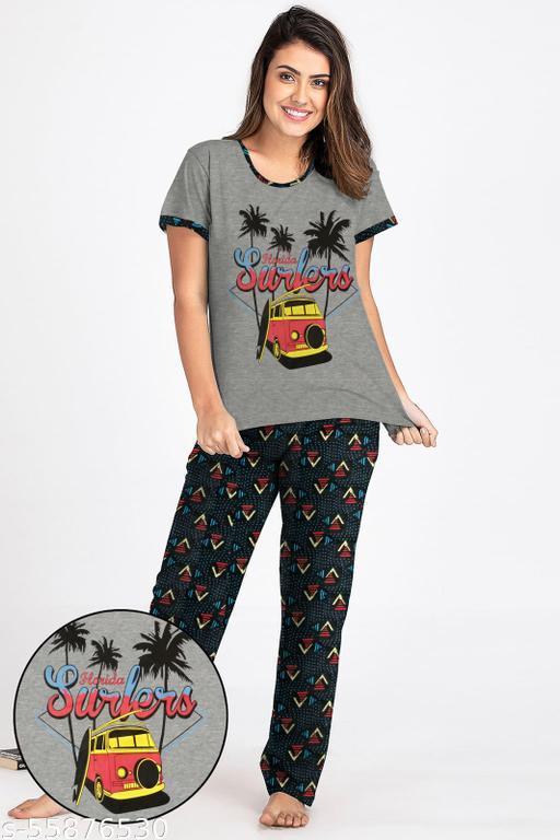 Ladies Half Sleeve T shirt With Printed Pyjama Pant Set