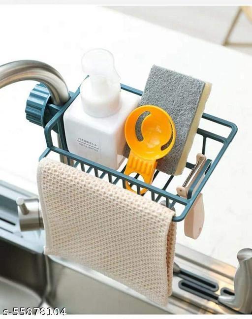 SK CREATION Plastic Faucet Sink Sponge Hanging Tap Storage Holder Rack Shelf