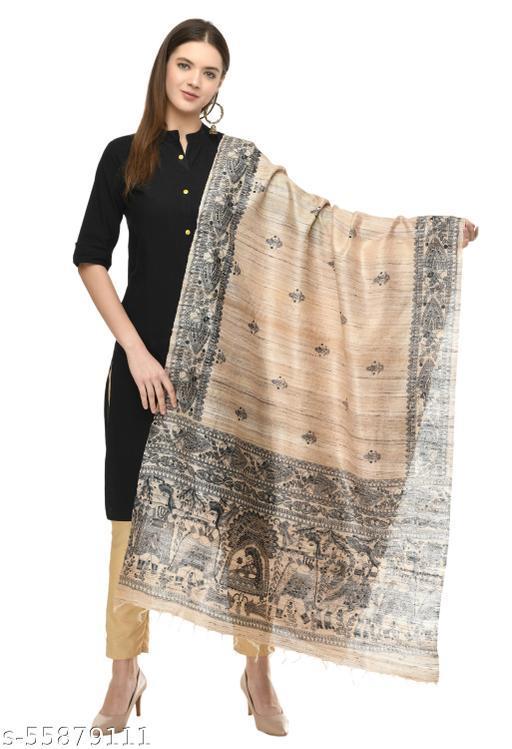 A R SILK Women's Ghicha Silk Golden Handprint Dupatta # Fancy Dupatta