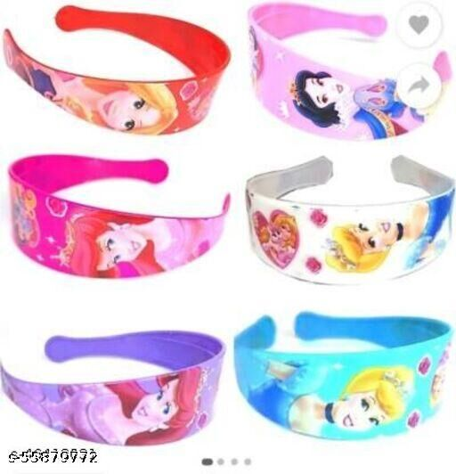 AZEFFIA Set Of 6 Printed Design & Multi Color Plastic Hair Bands (Random Design) Hair Band Hair Band  (Multicolor)