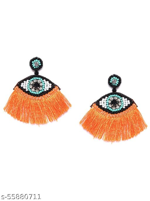Gold-Plated Contemporary Orange & Black Tassels Earrings & Studs