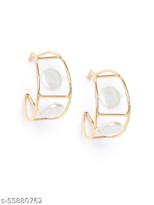 Gold-Plated Geometric Shell Studded Drop Earrings