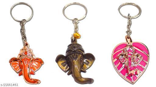 Ginni Designs Shri Ganesha Premium Keyring Combo (Multicolour) -Set of 3