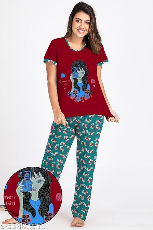 VKF Ladies Half Sleeve T shirt With Printed Pyjama Pant Set