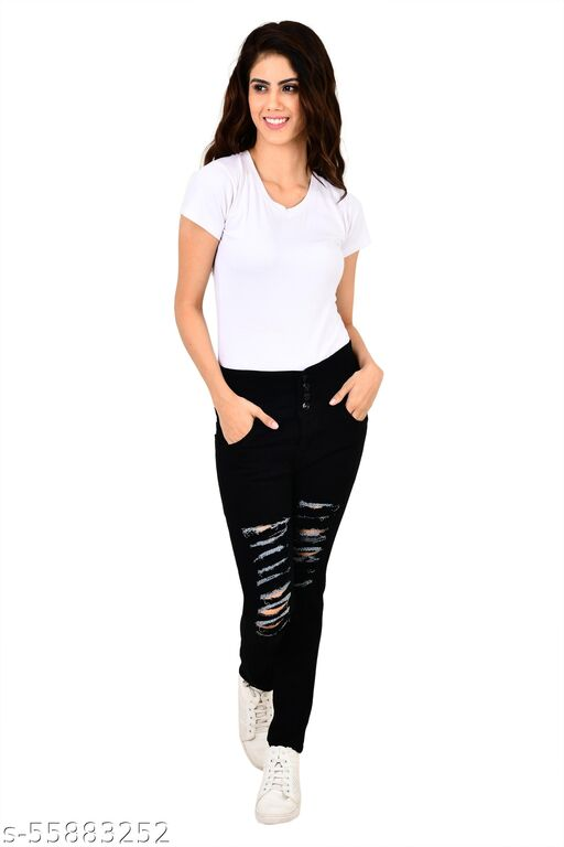 LEAFBERRY Slim Fit Denim 4 Button Jeans for Women (Black)