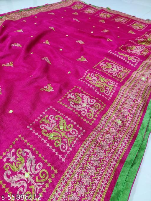Achira Tex Jute Linen Silk Saree  with mirror work