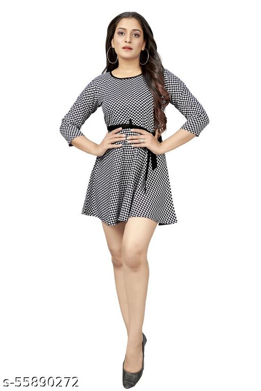 AR JOUIET MANSION women's Fit And Flare Fancy Western Cotton Printed Dress