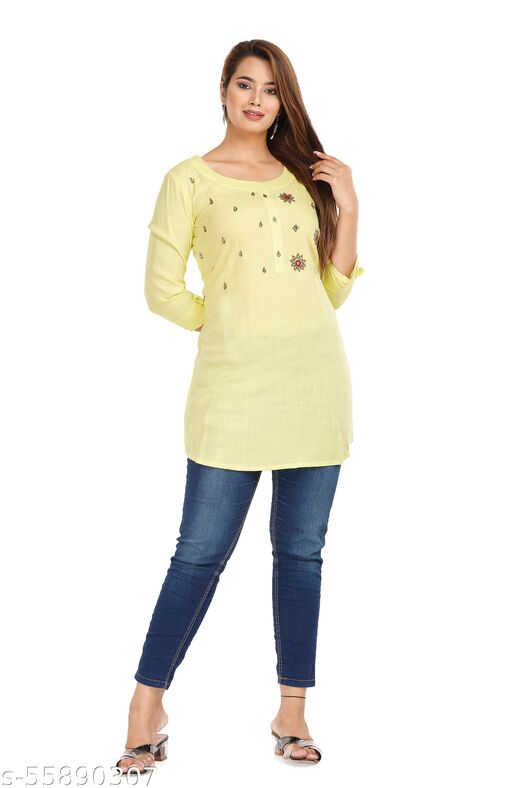 Women Lemon Rayon Handwork Tops & Tunics