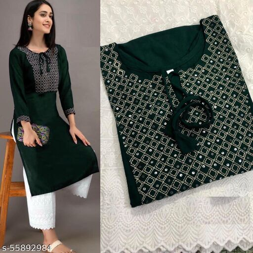 Embroidered Rayon Only Kurti