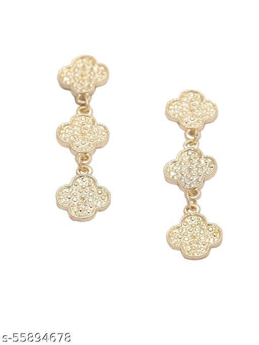 Gold-Plated Designer Drop Earrings