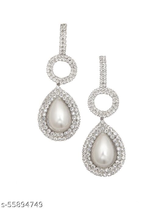 Silver-Plated CZ & Pearl Studded Designer Drop Earrings