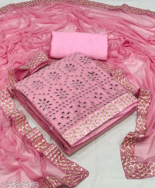 Pink Color Chanderi Cotton Mirror Work Unstitched Salwar Suit Material