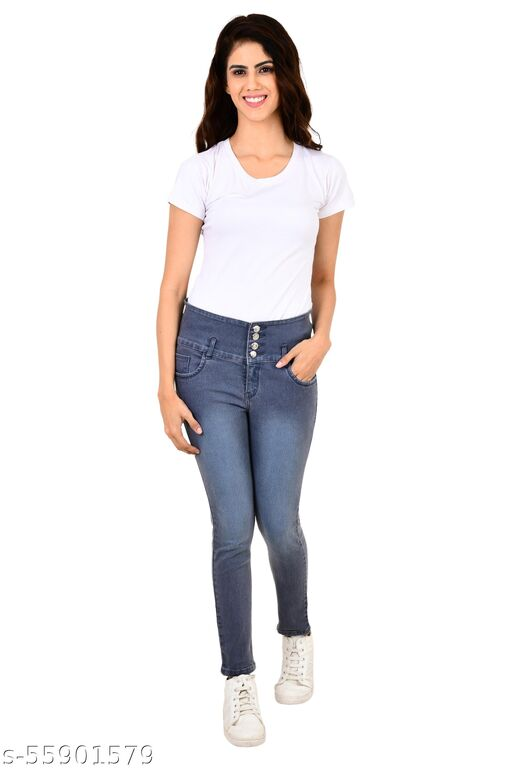 LEAFBERRY Women's Slim Fit Stretchable Solid 4 Buttons Denim Grey Jeans - Casual Wear Regular Skinny Fit Comfortable Jeans for Girls