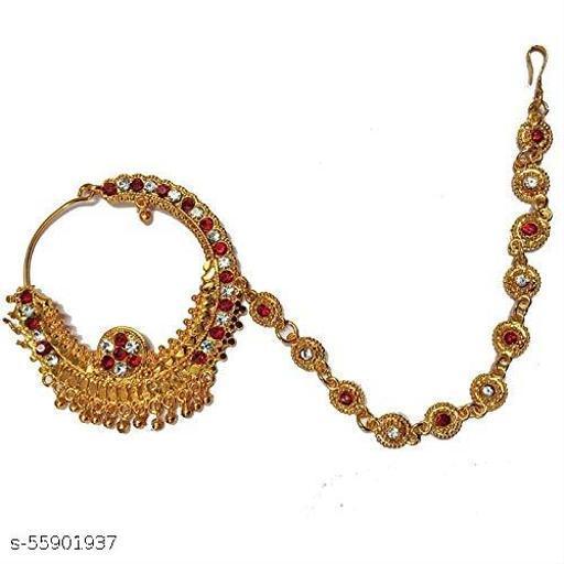 HillsHeaven Artificial Bridal Small Size Pahadi Nath With Hair Chain