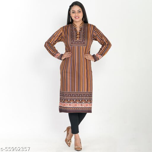 stylish woolen printed kurti for girls/ ladies with one side pocket