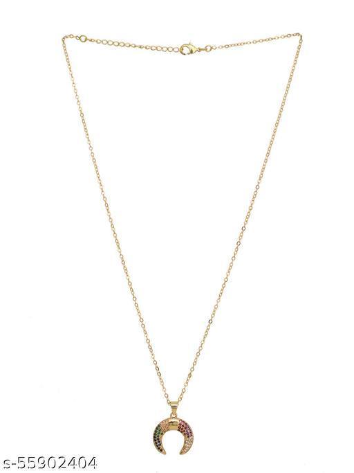 Gold-Toned Multi-Colored CZ Studded Designer Necklace