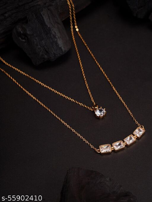 Rose Gold-Toned & Multi-Colored CZ Studded Layered Designer Necklace