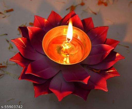 Lotus Diya Red Color 6 inch With Box