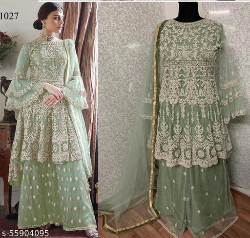 Mfbotique Women's Butterfly Net Embroidered Semi Stitched Pakistani Salwar Kameez