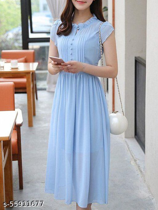 Light Blue Frock for Woman - Zyra Fashion
