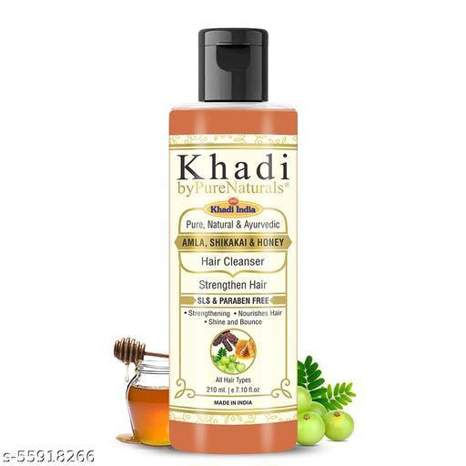 Khadi byPureNaturals SLS & Paraben Free Amla Honey Shikakai Shampoo or Men Women 210ml