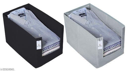 Kuber Industries 2 Piece Non Woven Shirt Stacker Wardrobe Organizer Set, Black And Grey