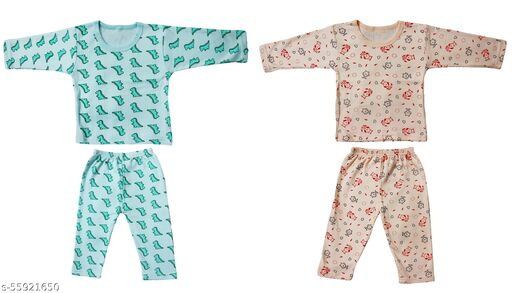 AKIDO Full Sleeves Printed Thermal/Winter Wear/Warmer/Upper and Lower For Kids (Boys and Girls), (Unisex), (Pack of 2)
