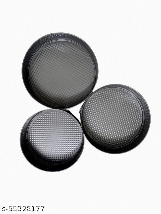 JSSS Teflon Coated Spring Form Cake Mould Pan Tray Set || Trays for Cakes, Bread Loaf, Pastry, Pudding and Pies || Mould Sets Kitchen Baking Tool (Set of 3 Pieces) (Black)
