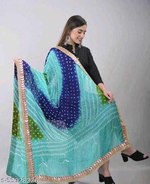 DUPATTA pure tapeta silk bhandhej multicolour dupatta with double zari border and lattan latto