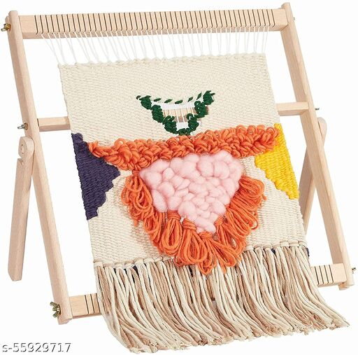 Whittlewud Multi-Craft Weaving Loom Large Frame (16.5In x 15.7In x 1.2In) Wooden Loom Tapestry Loom Creative DIY Weaving Art & Crafts for Kids