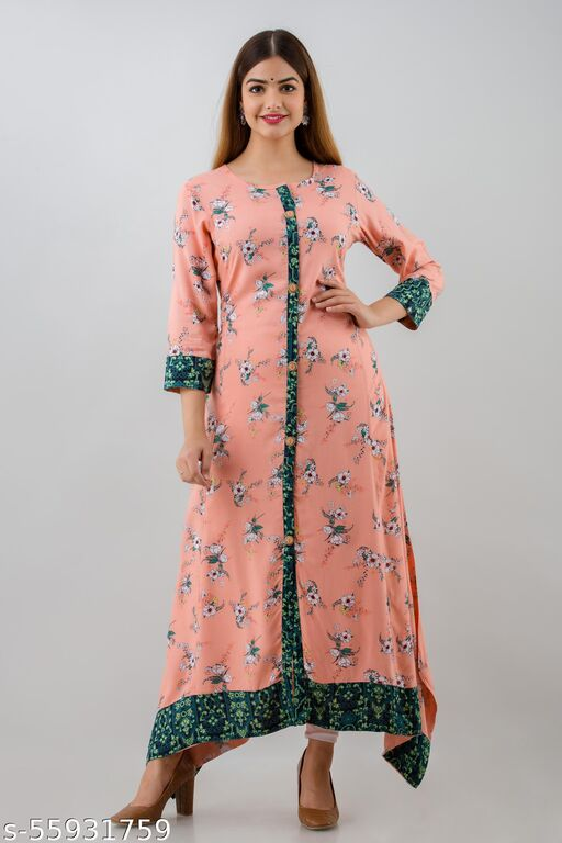 SITU KUMAR Women's Rayon Printed Flared/A-Line Gown For Women & Girls