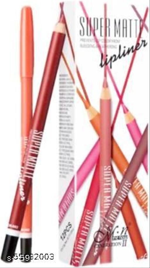 Makeup Fever MN Super Matte Creamy Lipliner Pencil pack of 12