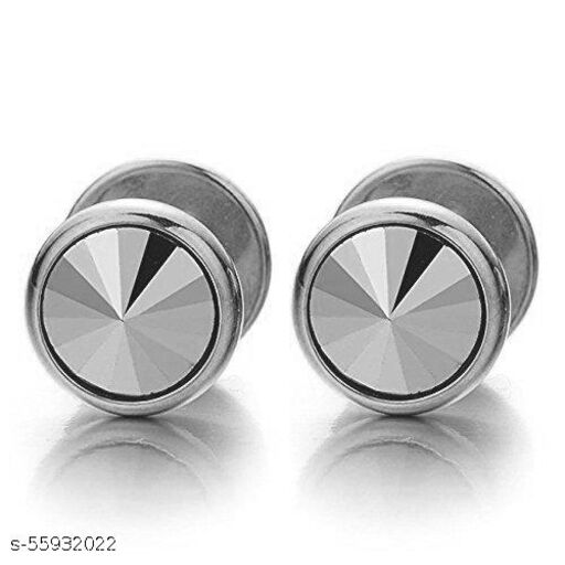 Mens Screw Stud Silver Color Earrings with Round Cubic Zircon Prism CZ, Stainless Steel Barbell