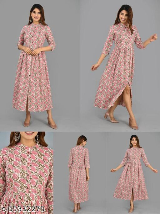 Garvit Women's Pure Cotton Printed Long Front Open Umbrella Cut Dress Cum Shrug