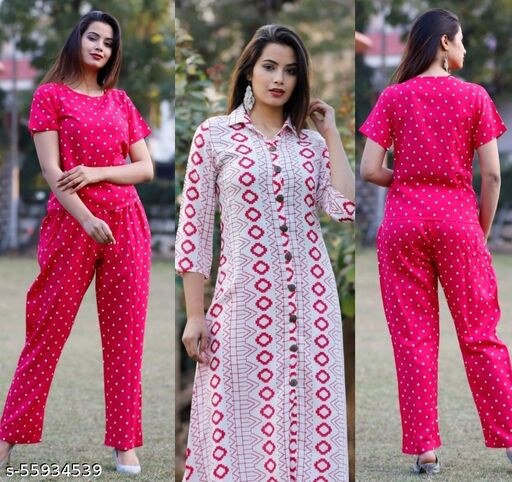 Rayon Pink Printed Top and Pant with Shurg