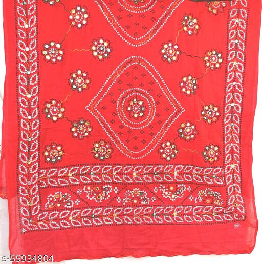 Redcolour embroidery mirroework  duptta