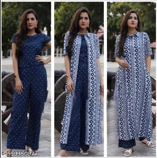 Rayon Navy Blue Printed Top and Pant with Shurg