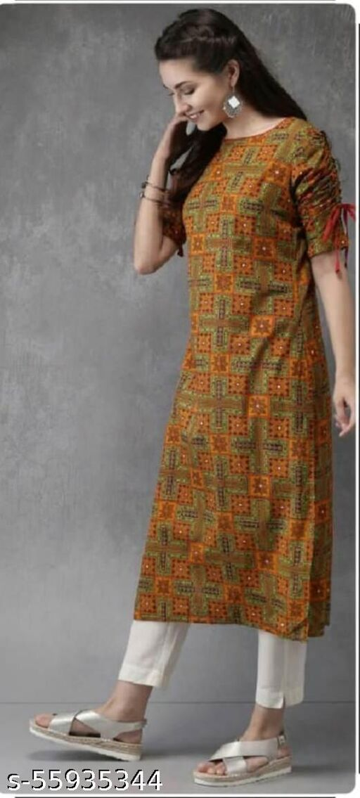 Rayon Printed Straight Kurta With Pant Set
