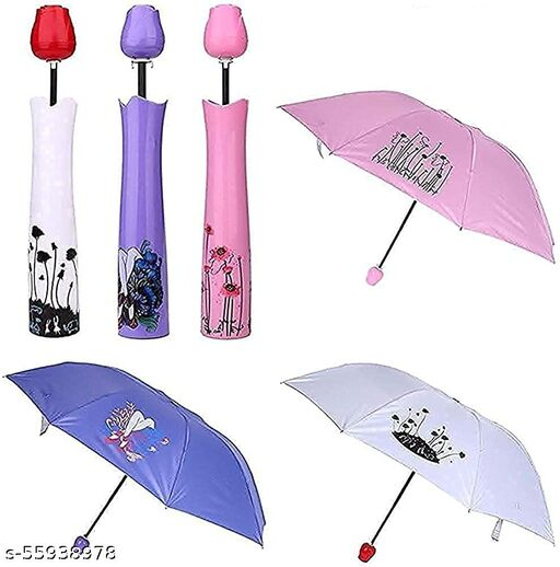Lightweight Waterproof UV Protection Mini Folding Creative Rose Flower Case Canvas Plastic Umbrella with Compact Bottle Multicolour (Pack of 1)