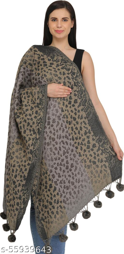 Exotic India Wild-Dove Reversible Stole with Leopard Weave and Pom-pom Tassels