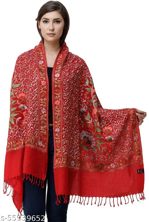 Exotic India Shawls from Amritsar with Ari-Embroidered Flowers and Leaves