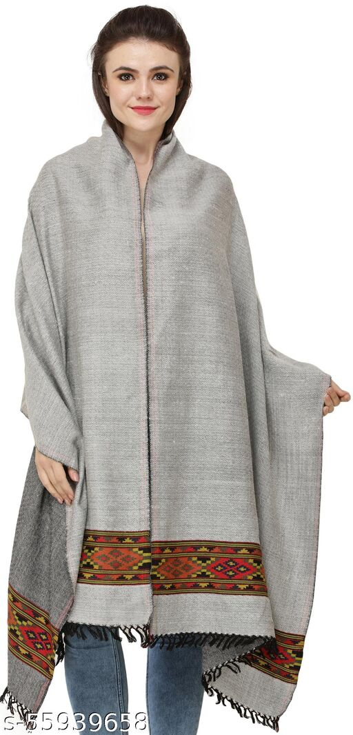 Exotic India Silver Cloud Reversible Shawl from Kullu with Diamond Weave and Kinnauri Woven Border