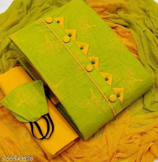 Glorious Green Colored Casual Wear Embroidered Cotton Dress Material