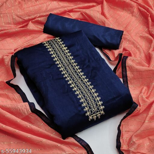 Stylee Lifestyle - Navy Blue Colored Partywear Velvet Embroidered Suits & Dress Material