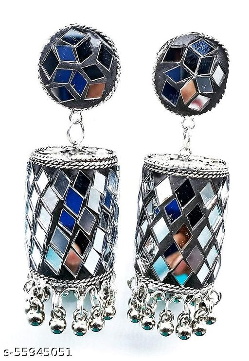 Product Style Name : Traditional Oxidized Silver Handcrafted Mirror Work Jhumkas | Size : Length : 3 Inche | Width : 1.7 inche | Qty : 1 Box (set of Two Earrings) | Metal: Non-Precious Silver Hardcrafted Mirror | Color: Silver | Gross Weight: 70.00 Grams