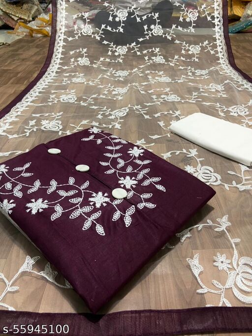 MAROON DRESS MATERIAL SUIT FOR WOMEN